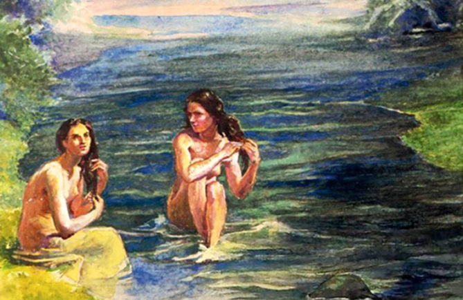 La Farge. Women bathing in Papara river.1891