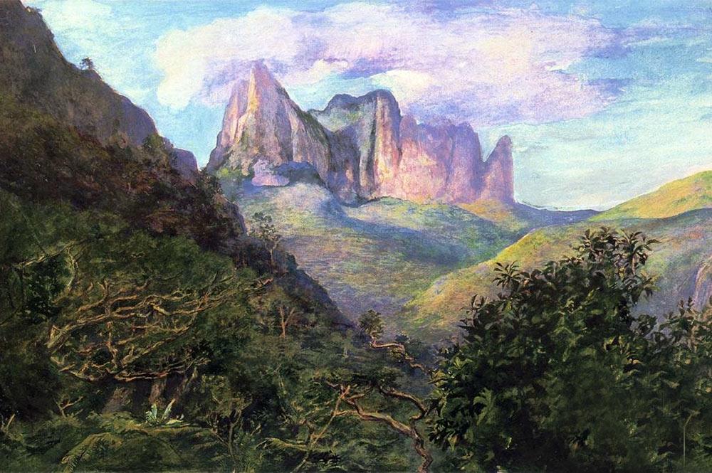 John Lafarge, Diadem Mountain At Sunset Tahiti, 1891