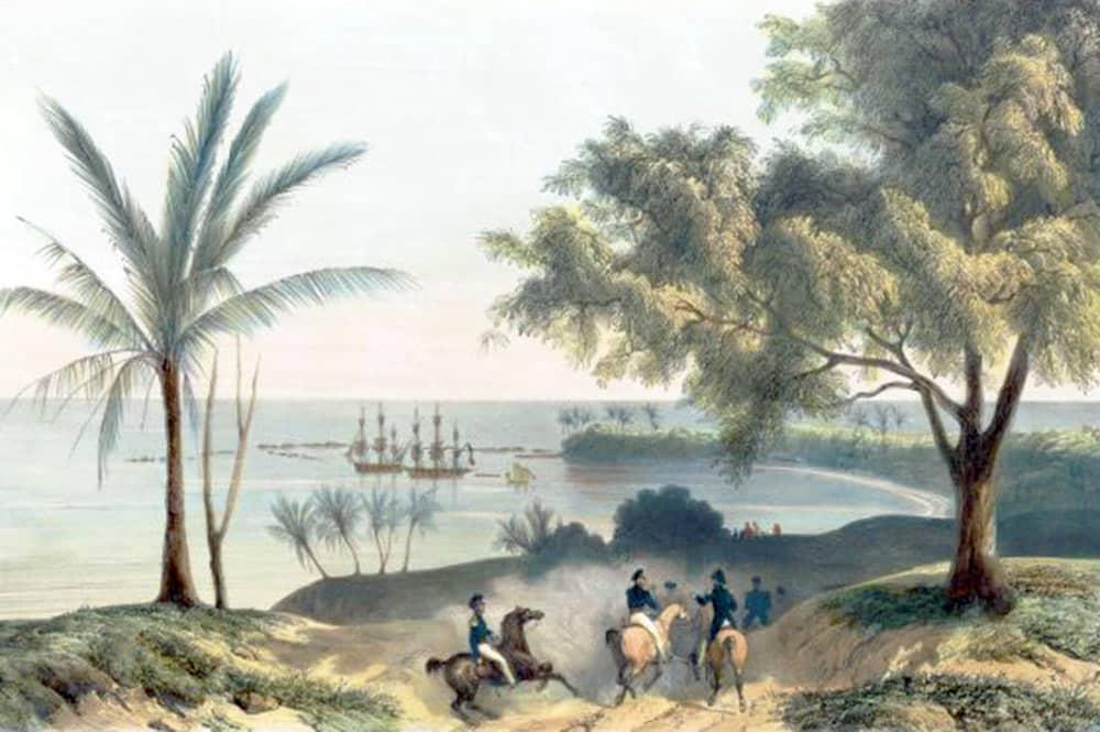 La baie de Matavai vue du col du Tahara'a en 1792. Aquarelle de George Tobin