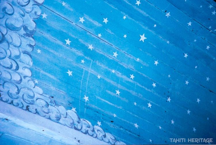 Plafond de l'ancienne église de Hititake en 1998. © Tahiti Heritage
