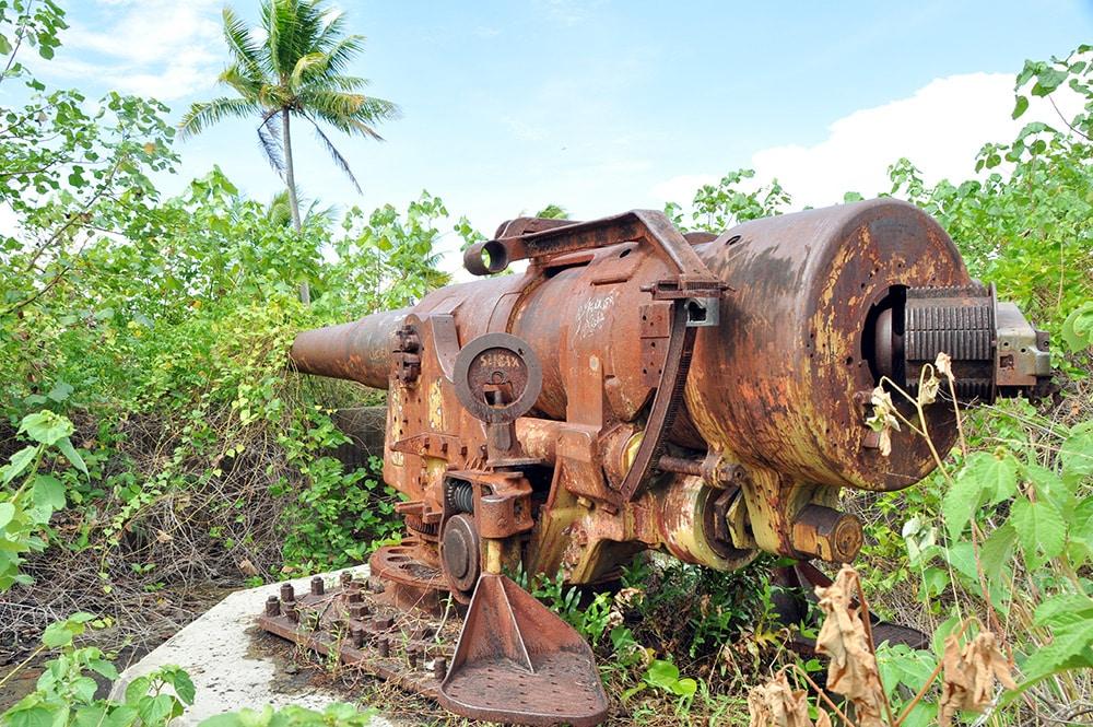 Canon américain d'Anau à Bora Bora. Photo Elsa Fernicle