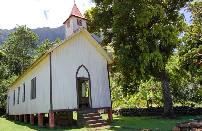 Eglise de Aakapa à Nuku Hiva. Photo Purutaa