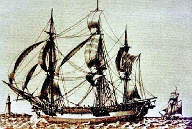 Le Solide commandé par le capitaine français Etienne Marchand