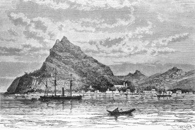 Le mont Duff sur l'île de Mangareva. Gravure