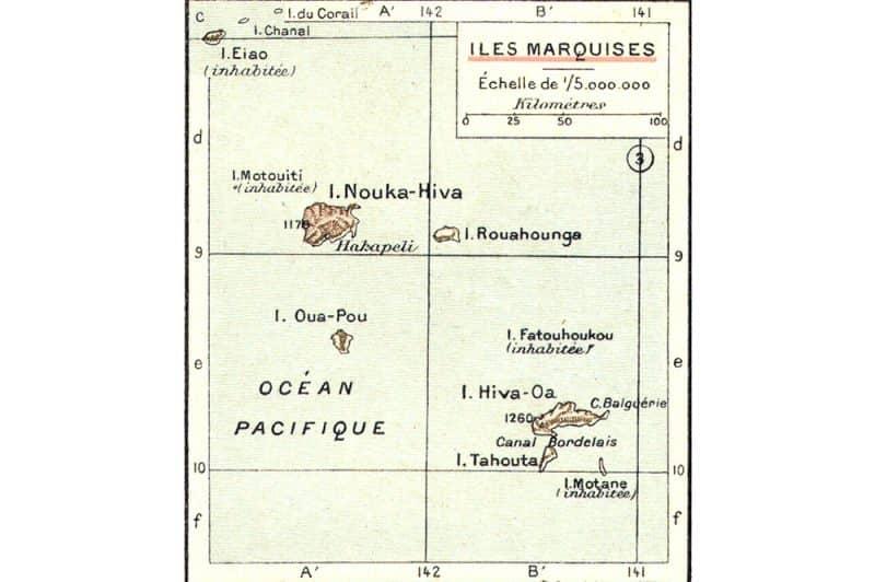 Carte ancienne des îles Marquises