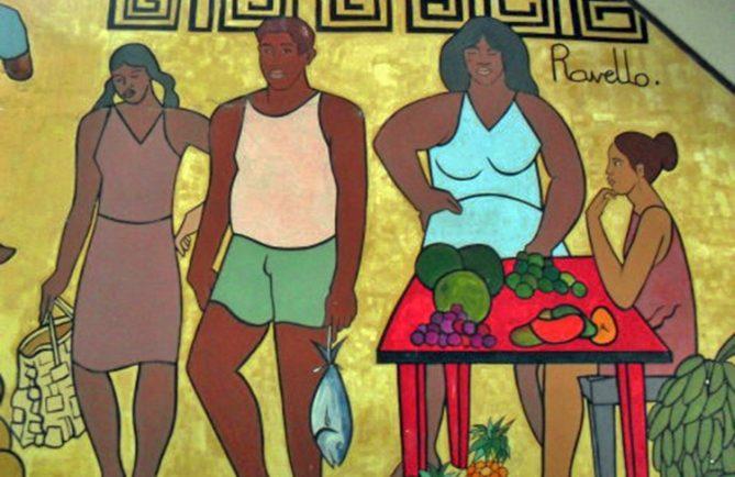 Fresque de Ravello au marché de Paopao à Moorea.