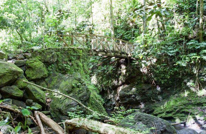 Petit pont sur la rivière Fautaua menant au fort de la Falchoda. Photo Bruno Lupan