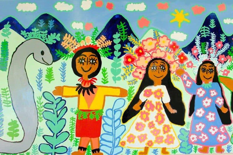 La princesse Hina se présente au prince Puhi. Fresque de l'école Papehue de Paea 2000