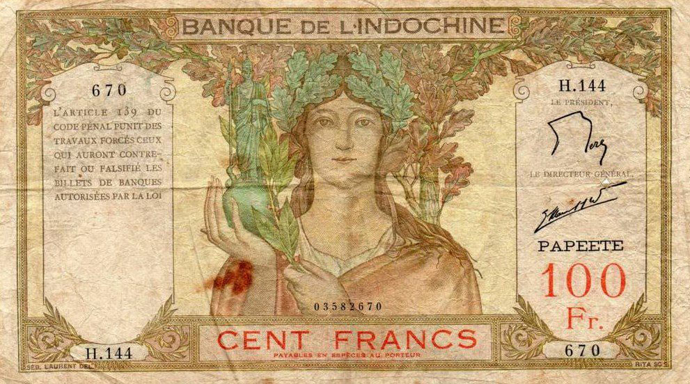 Billet de Cent francs de la Banque de l'Indochine