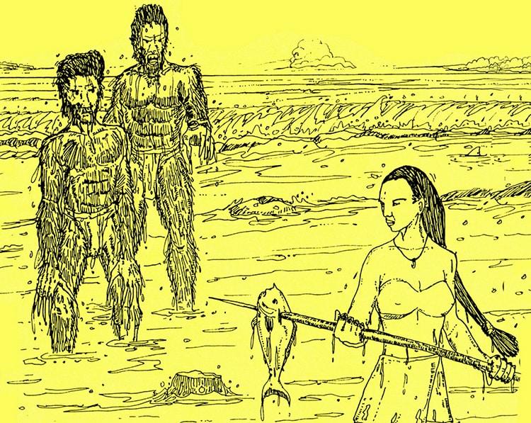 Kairarua, enlevée par les Mokorea de Hao. Illustration Daniel Akeou. GOD de HAO 2001