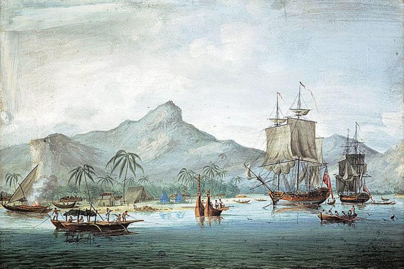 Resolution et Discovery lors de la troisième expédition de James Cook dans une baie de Huahine. (Coll. Blackburn)