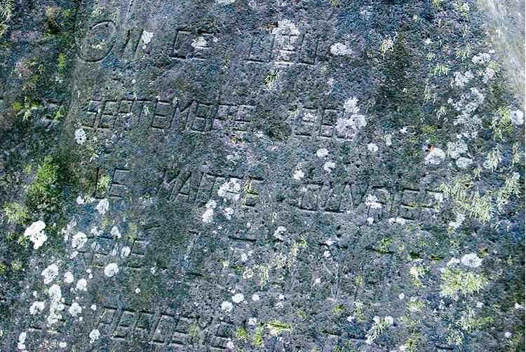 Détail de la pierre commémorative - Ahonu