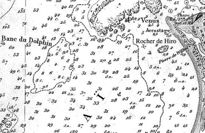 Détail de la carte marine de la baie de Matavai