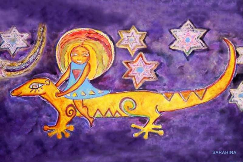 Moo re'a. Lézard jaune. par Sarahina