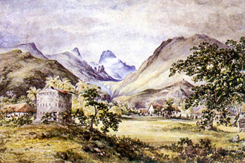 Fort Belleau dans la vallée de la Punaruu, Tahiti. Tableau de Constance Cumming.