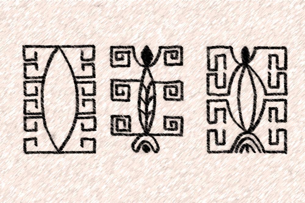 Motifs de tatouage marquisien représentant des nonos. K. Von den Steinen (1925)