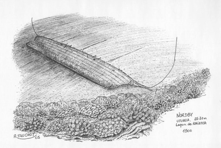 Epave du Nordby à Uturoa, Raiatea. Illustration A. Tauchot 2005