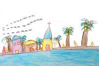 Village de Kauehi. Dessin Elodie Tave, école de Kauehi 2000