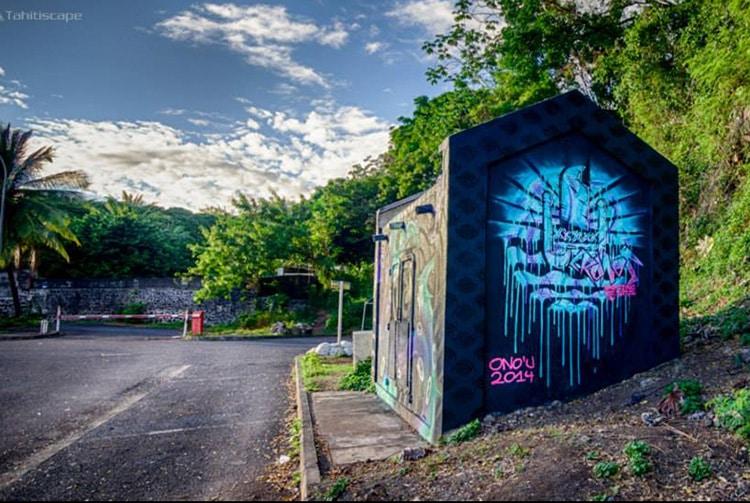 Papeete-street art par Cronos, transformateur EDT face au Cesc. Photo tahitiscape 2014