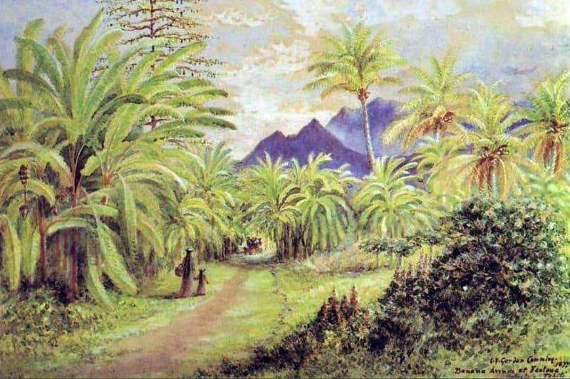 Banana av at Fautaua Papeete 1877. Constance Gordon Cumming