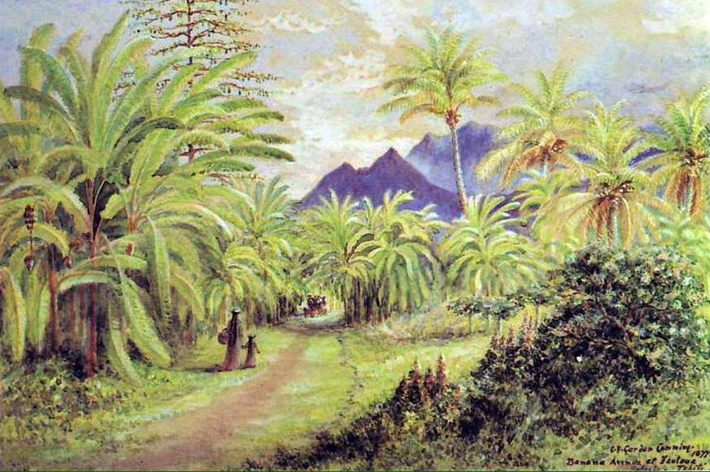 Banana av at Fautaua Papeete 1877. Constance Gordon Cumming