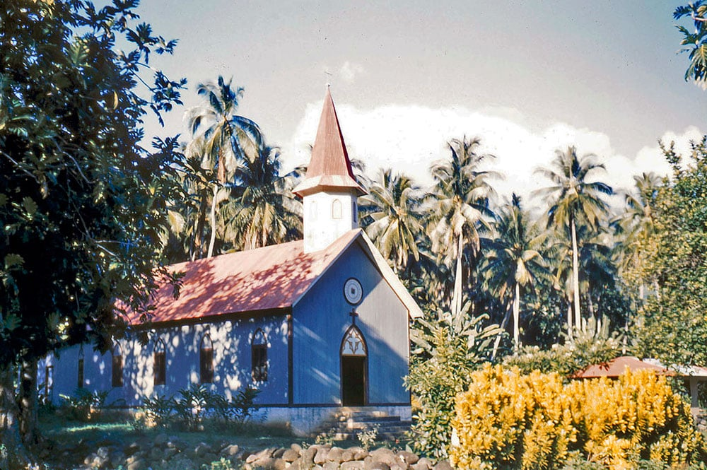Eglise de Hakahetau en 1958. Sea Chanty