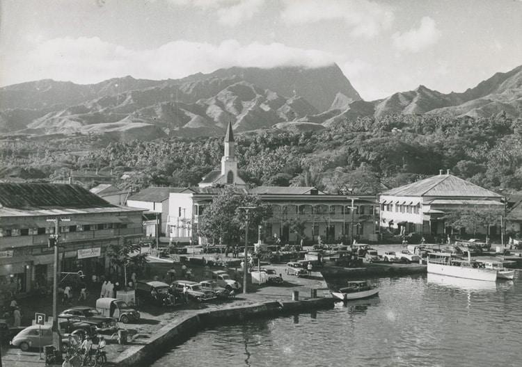 Le port de Papeete en 1958, Tahiti.