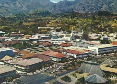Papeete, vue aérienne, carte postale, 1973.