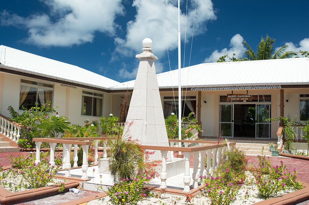 Monument du 20ème siècle de la mairie de Avatoru à Rangiroa © Tahiti Heritage