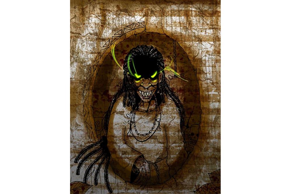 Sorcière de Tubuai. Illustration de Vashee
