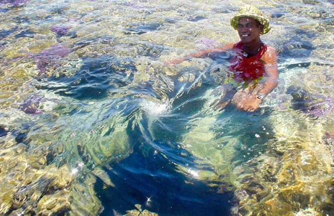 Trou bleu, Koko Oana au sud de Anaa. Photo J.P Baury