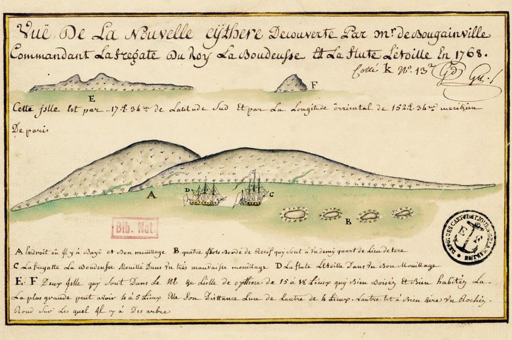 Vue de la Nouvelle Cythère (Tahiti) découverte par Bougainville en 1768