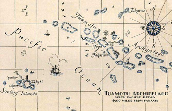 Carte ancienne de l'archipel des Tuamotu