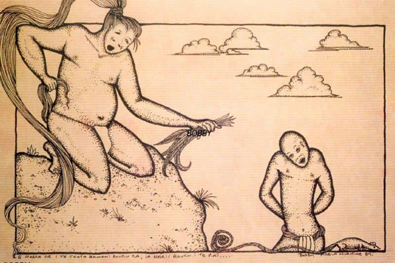 Légende de Roanuu, le jeune homme chauve. Illustration Bobby
