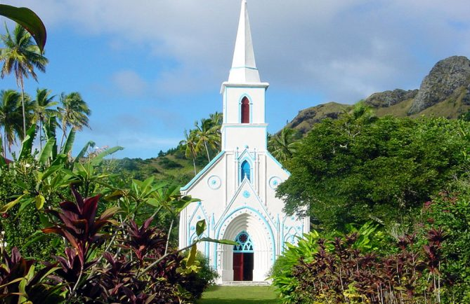 Église Saint-Gabriel de Taravai, Gambier. Photo Olivier Babin