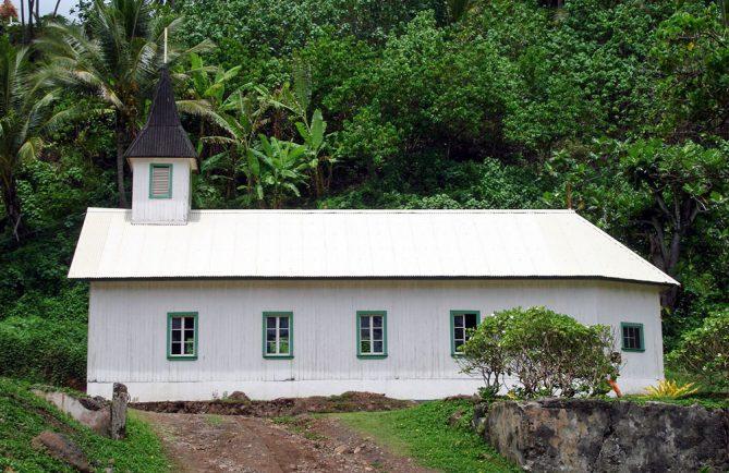 Eglise du Sacré-Coeur à Puamau, Hiva Oa. Photo Heidy Baumgartner