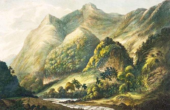 John Webber. A View in Matavai, Otaheite 1777. Vallée de la Tuauru, Mahina.