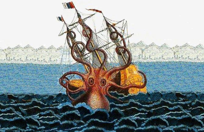 Calmar géant, d'après un ex-voto de 1810 Pierre Dénys de Montfort