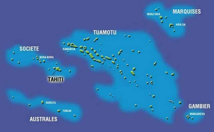 Carte des cinq archipels de la Polynésie française