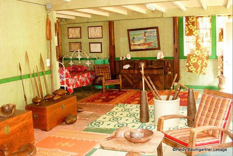 Intérieur de la maison Grelet, à Omoa, Fatu Hiva. Photo Heidy Baumgartner Lesage