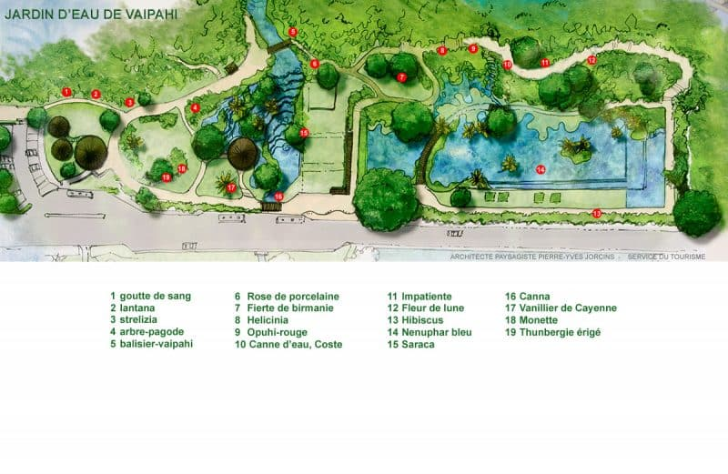 Plan du jardin d'eau de Vaipahi à Teva I Uta, Tahiti. Architecte Paysagiste P.Y Jorcins.