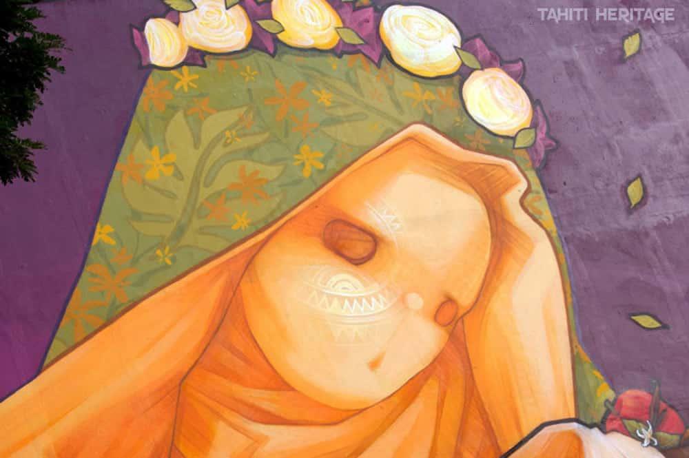 Visage de la Virgen made in France, Street Art de Inti. Paofai, Papeete, 2014. © Tahiti Heritage
