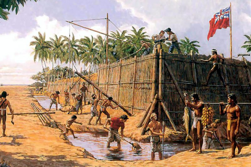 Fort George à Tubuai. Illustration Herb Kane