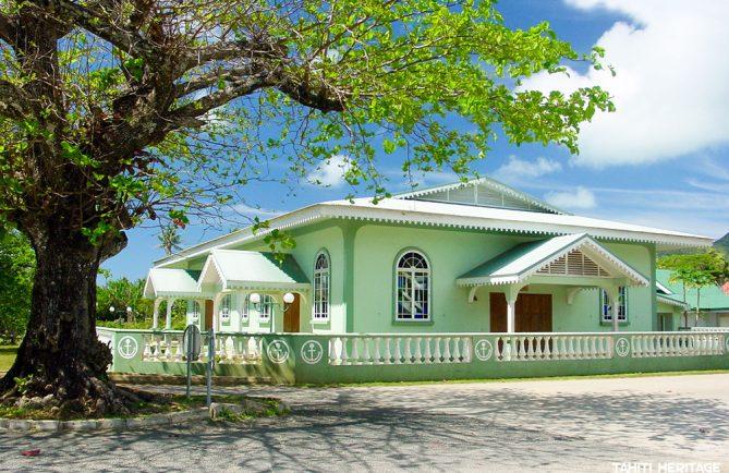 Temple protestant de Mataura, Tubuai. © Tahiti Heritage