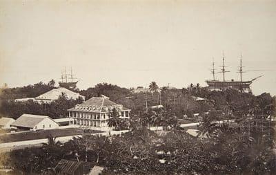 L'Astrée au mouillage à Papeete en 1870. Photo Paul Emile Miot
