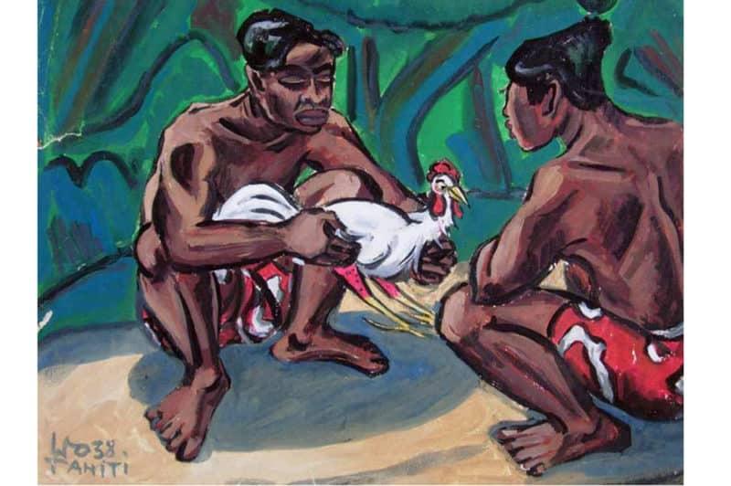 Combat de coqs - Illustration Wolgang Wolff - Tahiti 1938
