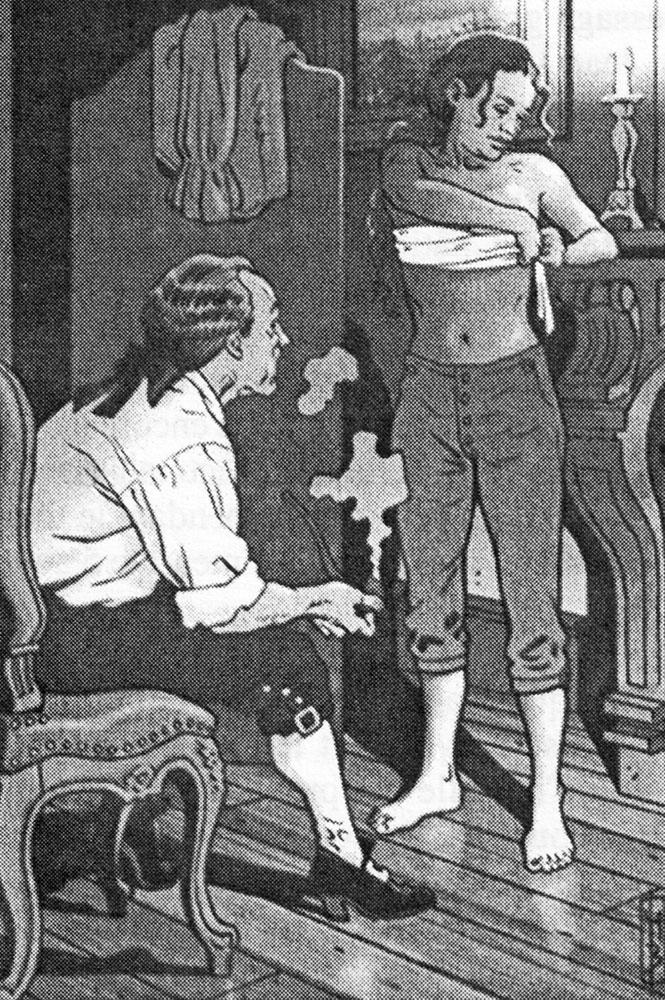 Jeanne Baret, se déguise en matelot. Ilust. Marc Bourgne / Cols bleus