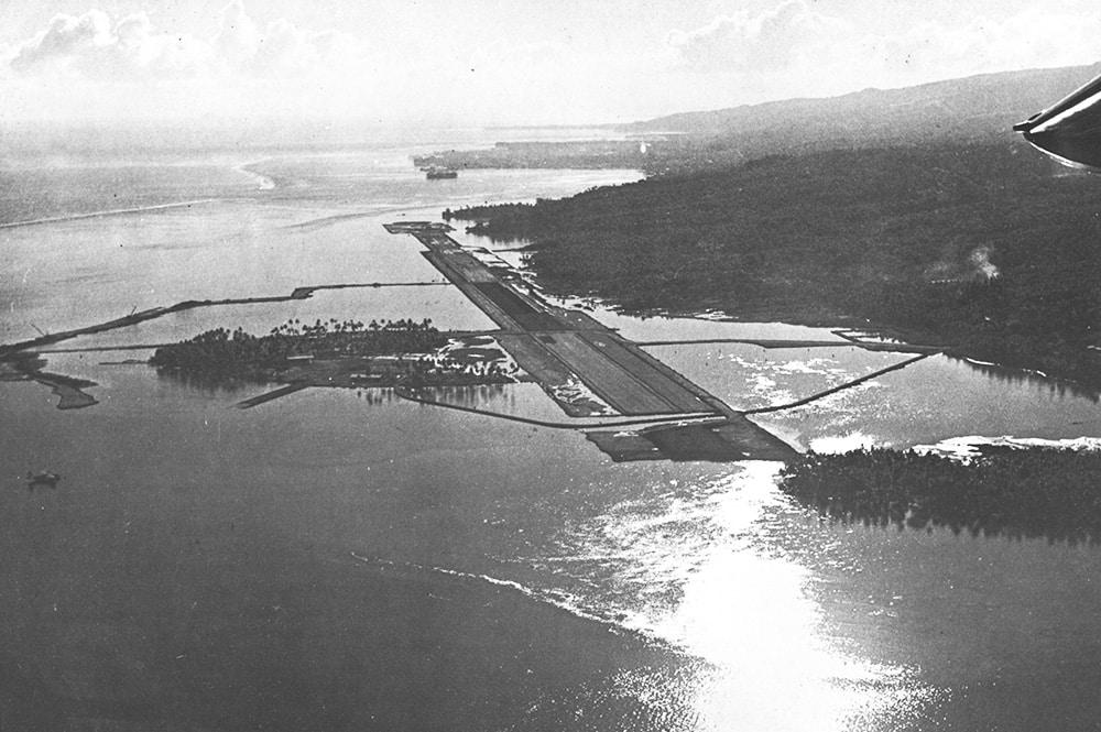 Le motu Tahiri de Faa'a en 1960, vu d'avion.