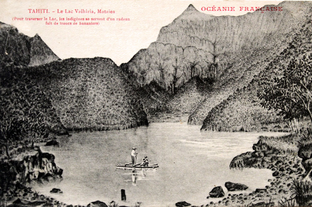 Carte postale du lac Vaihiria vers 1900