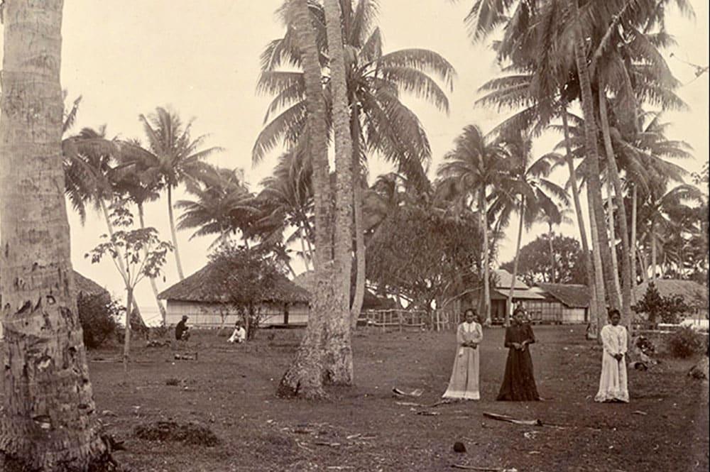 Le village de Tautira en 1900. Franom